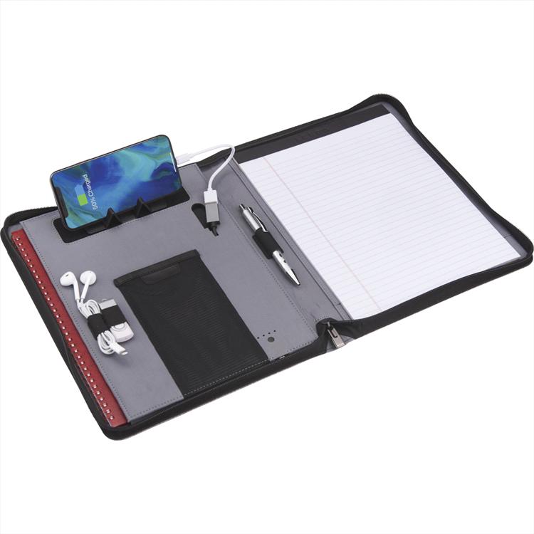 Picture of Zoom 4000 mAh Wireless Charging Zippered Padfolio